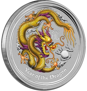 Year of the Dragon 2012 - 1 oz; farebný motív (žltý)