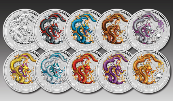 Set of 10 x 1 oz - Year of the Dragon 2012 with color theme
