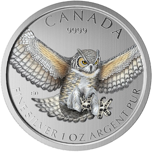 Great Horned Owl 2015 - 1 oz; farebná