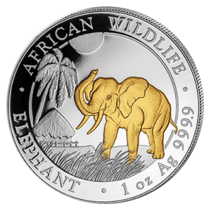 African Wildlife Elephant 1 oz 2017; gilde