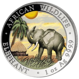 African Wildlife Elephant 1 oz 2017; color