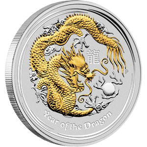 Year of the Dragon 2012 - 1 oz; zlacené