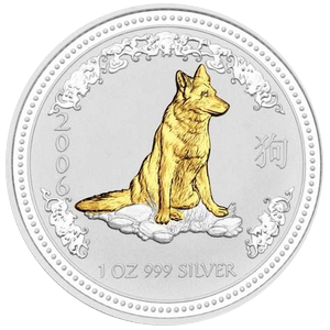 Year of the Dog 2006 - 1 oz; zlacené