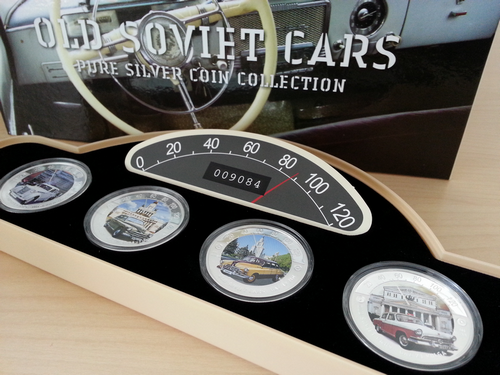 Old Soviet cars 4 x 1oz Proof color 2010